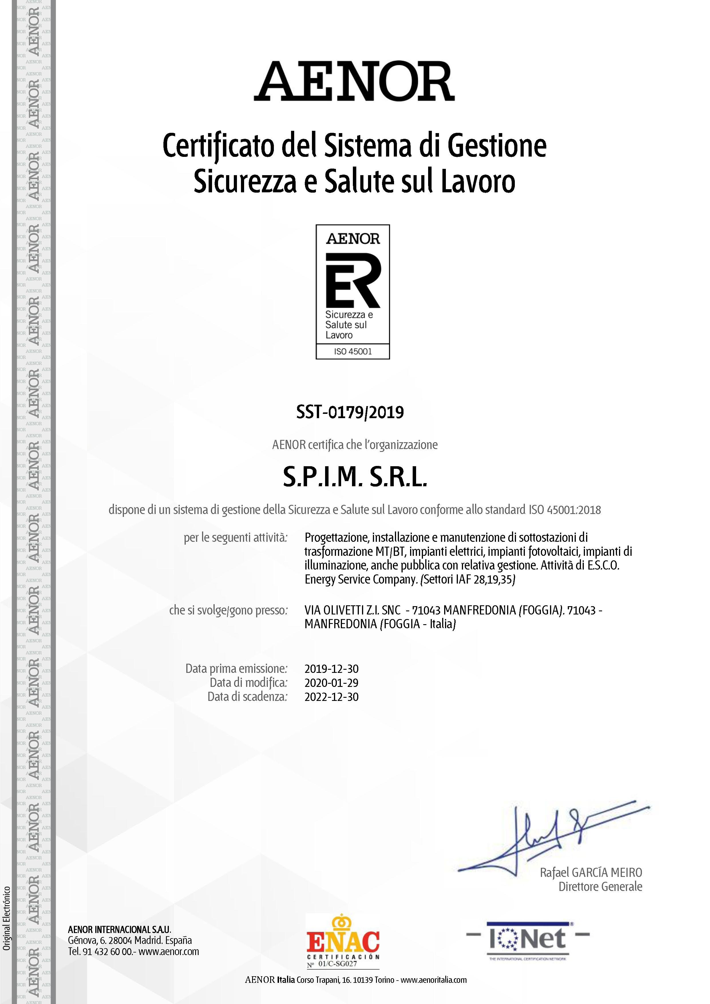 certificato -ISO 45001