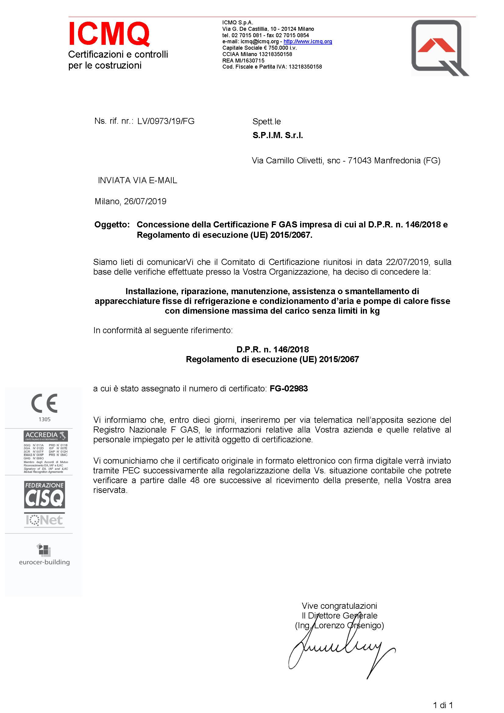 certificato F-GAS S_P_I_M_ S_r_l_